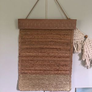 Homemade woven gold dipped wall hanging